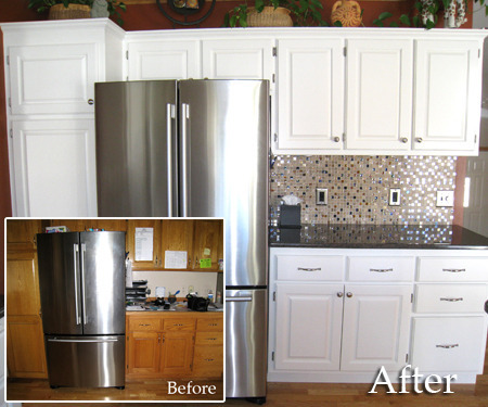 Diy friday the simple way to repaint your kitchen for Before and after pictures of painted laminate kitchen cabinets