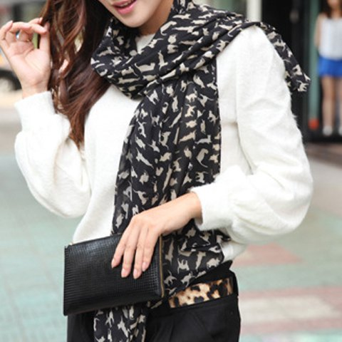 Cat Print Scarf for $3