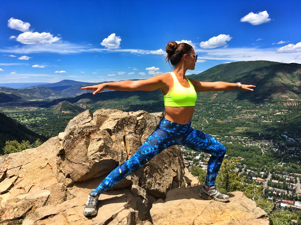 Yoga Warrior Pose Coral Leggings Aspen