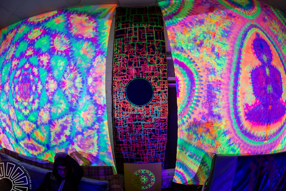 Custom UV Tapestries in Chill Space @ Fractaltribe's Year of the Fractilian NYE party 12/31/14 in Worcester, MA, USA