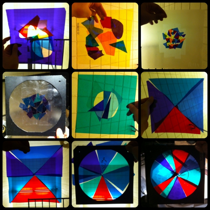 Progression of the stained glass gel project for  The Sound of Music