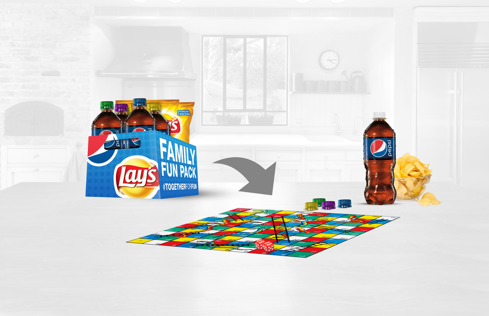 "The Pepsi/Lays multipack transforms into one of four board games including ""Snakes and Ladders""."