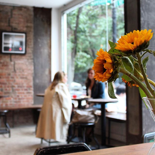 Spring 2019, NYC . . . . . #spring #nyc #coffee #coffeeshopvibes #friends #espresso #latte #cappuccino #sunflowers #chemex #catchingup #thirdrailcoffee