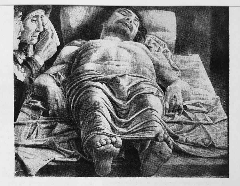 Klagosången över den döde Kristus, av Andrea Mantegna.