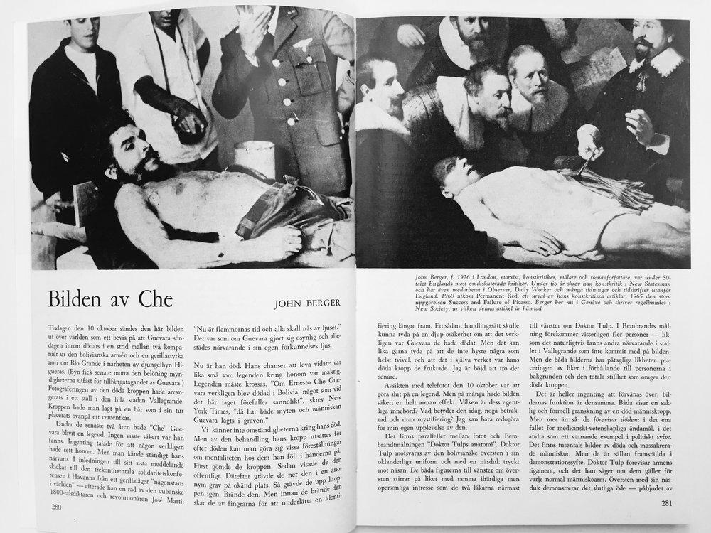 Texten i tryck i Ord&Bild nr 4 1968, med Rembrandts målning från 1632,The Anatomy Lesson of Dr. Nicolaes Tulp, till höger om nyhetsfotografiet föreställande den döde Che Guevara.