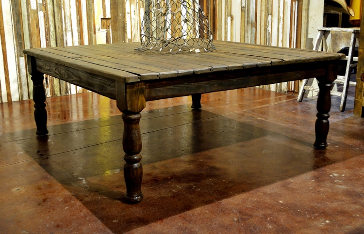 Low Square Reclaimed Wood Coffee Table