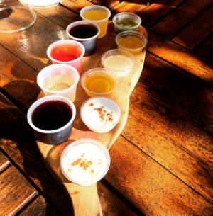 Wine and liquor sampler at La Bodega Andreu Sole in Guanica.
