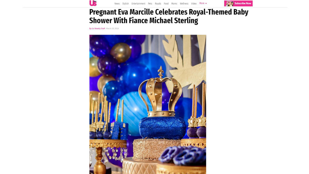 US WEEKLY FEATURED EVA's BABY SHOWER VIA PRINT AND THEIR WEBSITE
