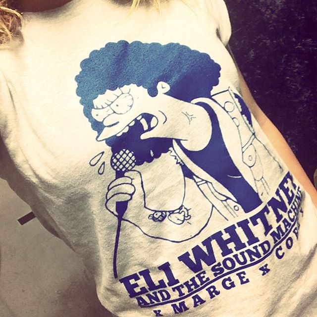 I'm not entirely sure why @eliwhitneyatsm made shirts with me as Marge Simpson on them, but I'm pretty stoked that they did! Rad design by @spooky.gif! #merch #punk #simpsons #idkman