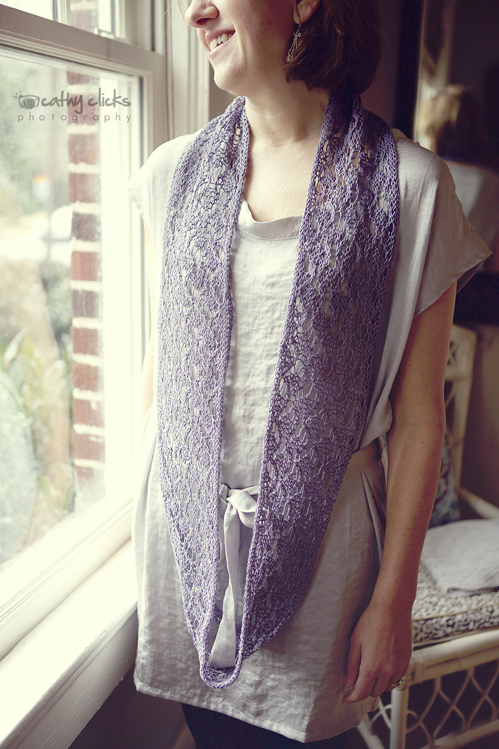 Linen Lace Infinity Scarf - worn by the creator herself.