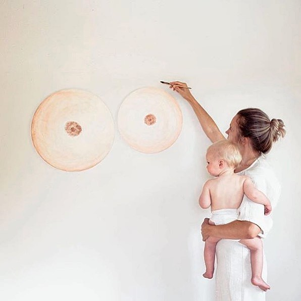 """Breastfeeding mood. ⚡️ """"Seth says mine never actually looked like this but when Wyeth would fall asleep after nursing only one this is how it felt"""" The best mama moments from artist@stellamariabaer • #motherhoodtogether"""