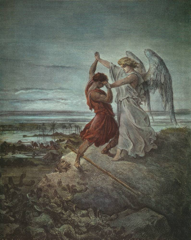 Jacob Wrestling with the Angel (1855 illustration by   Gustave Doré  )