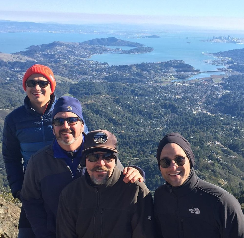 "Mt Tam January 1, 2016 (pictured, Jeff and some of his former youth proteges).  ""We talked the whole way up the Mountain about making memories in 2016 and that was the year I hiked the JMT."""