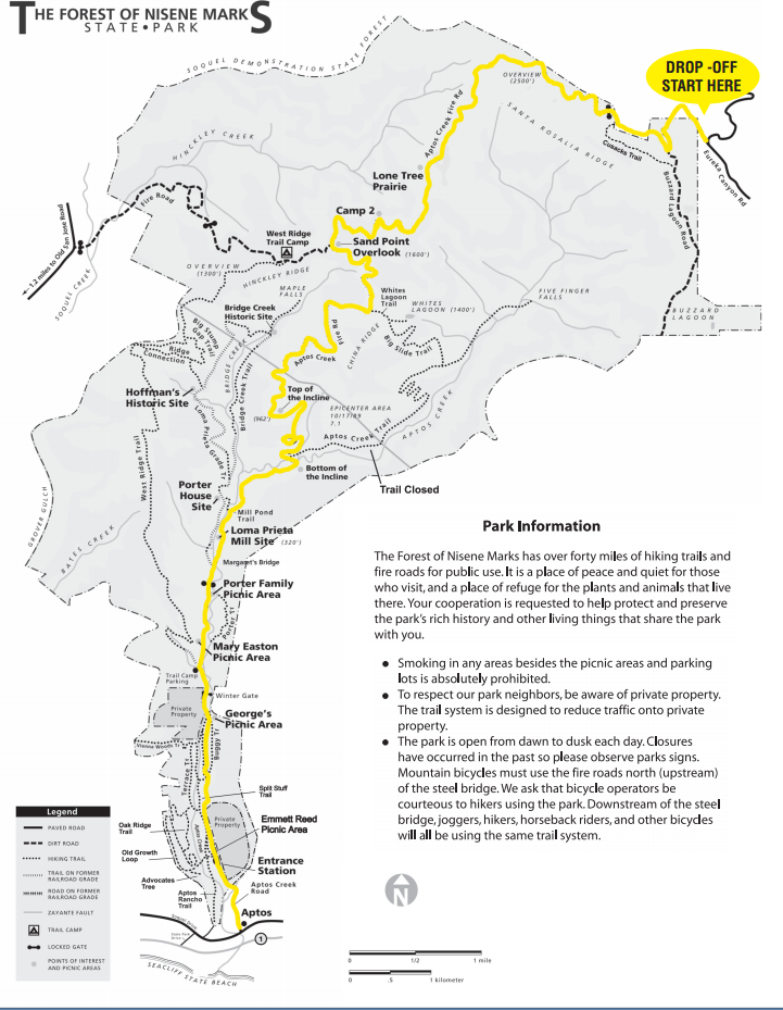 The Forest Of Nisene Marks Mountain Biking Trail Map