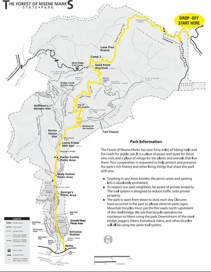 The Forest Of Nisene Marks Mountain Biking Trail Map