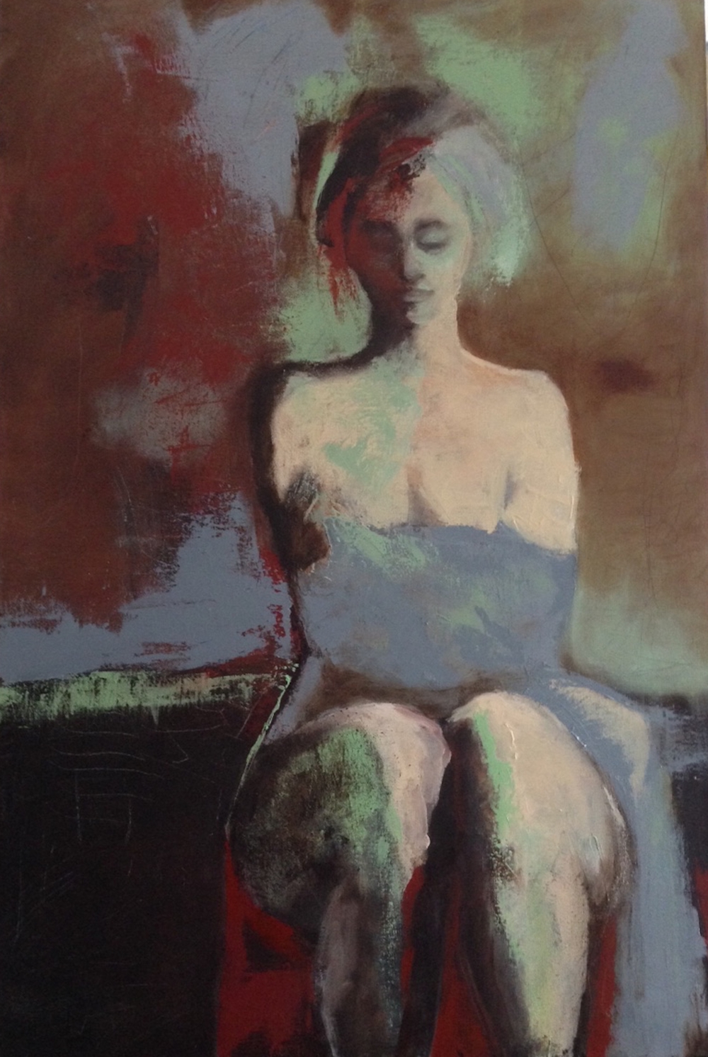 Sitting Figure, Oil on canvas, 24x36""