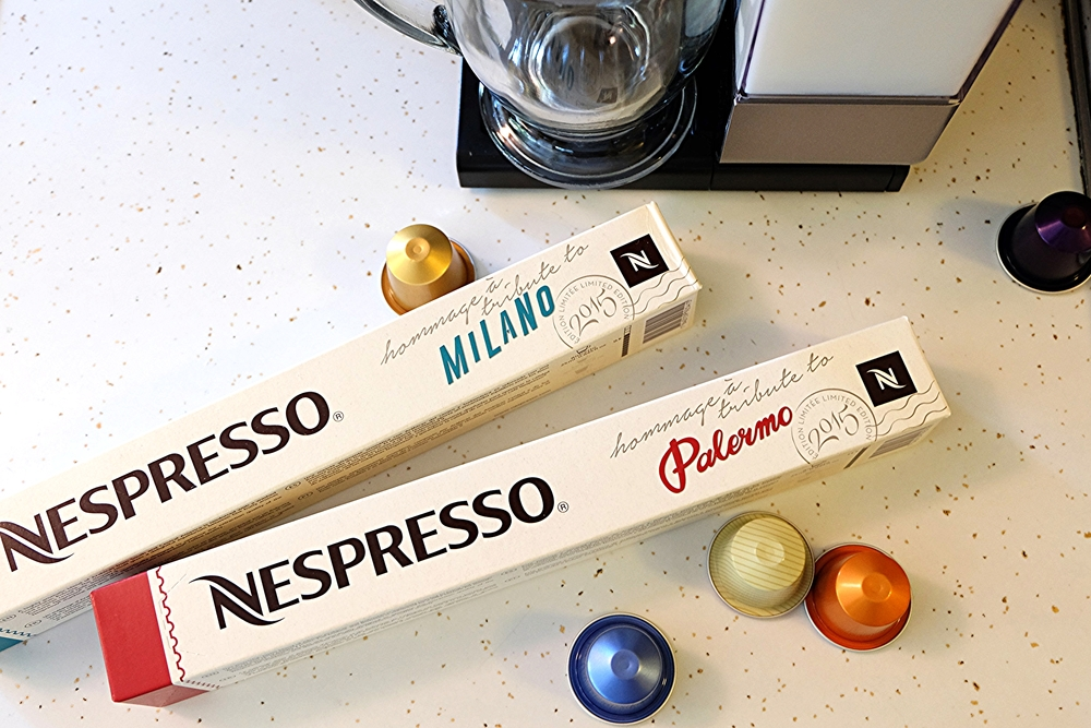 Nespresso also  just  launched two  new  OriginalLine  Limited Edition Grands Crus   Tribute to Milano  and  Tribute to Palermo  . To purchase these flavors go to  https://www.nespresso.com/us/en/tribute-to-milano-and-tribute-to-palermo?cid=PR_B2C_USen_INT_Sep15_MilanoPalermo    I am so excited to try them. This is my first ever Nespresso!!