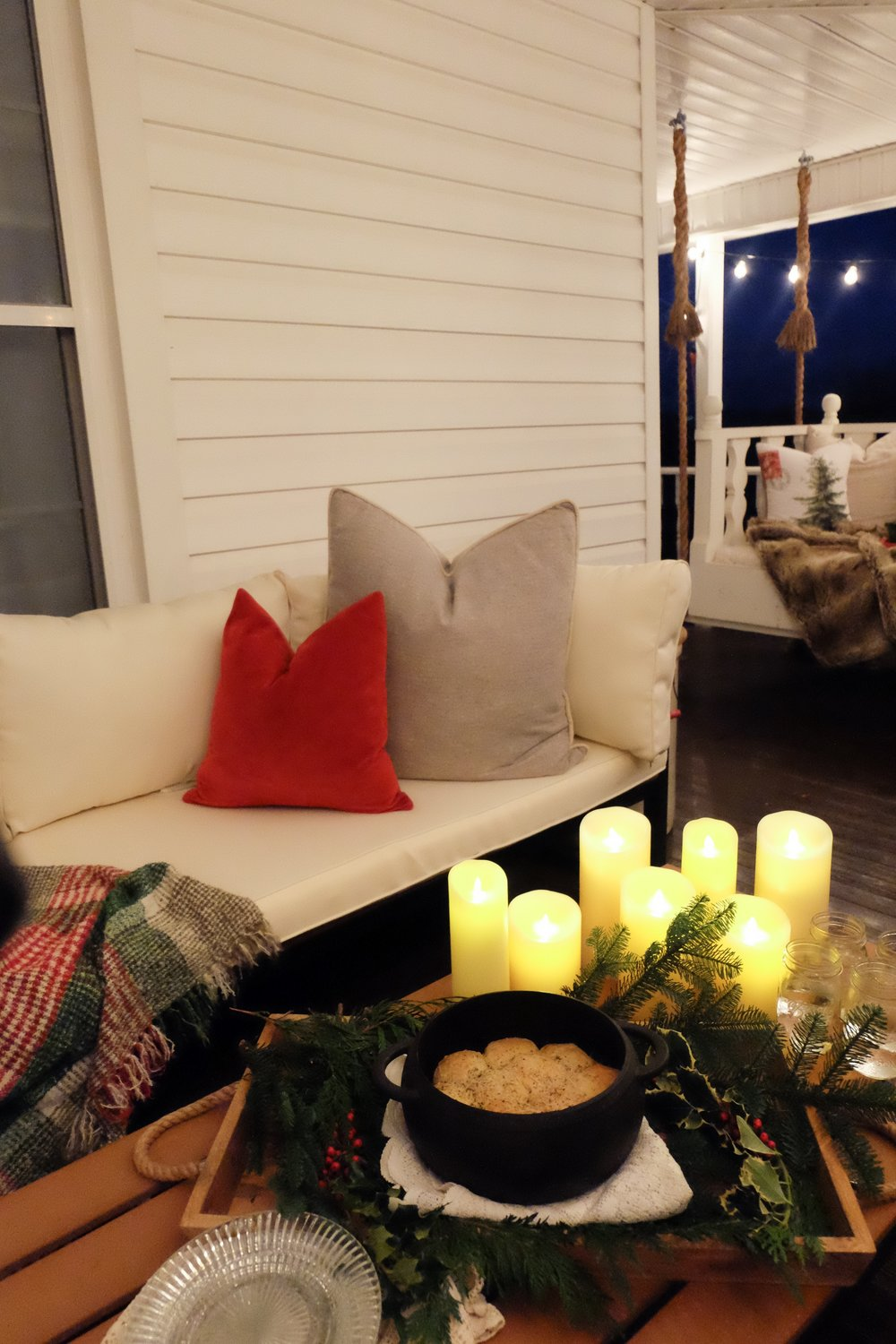 I got the patio set from @walkeredisonfurniture, gray pillows from @schoolhouseelectric and red velvet pillow & gorgeous throw from @crateandbarrel!  I usually have real candles but these really set the tone and have a nice glow!