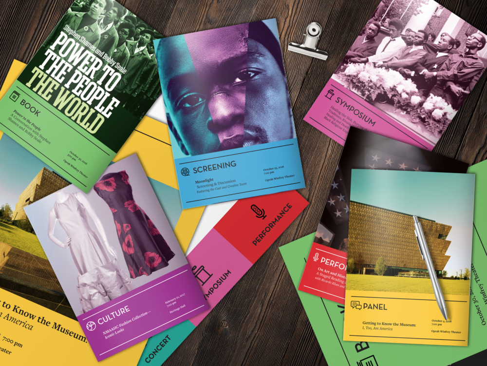 A selection of print materials created by eighty2degrees for the National Museum of African American History and Culture .