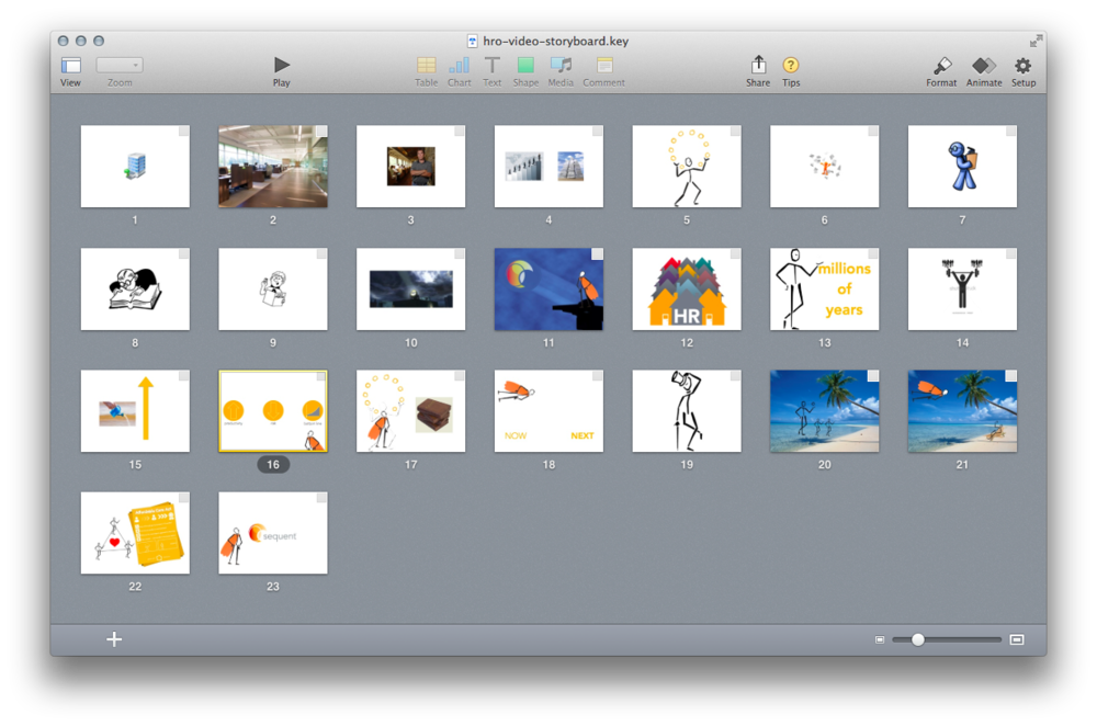 Quick and easy storyboarding with Keynote.