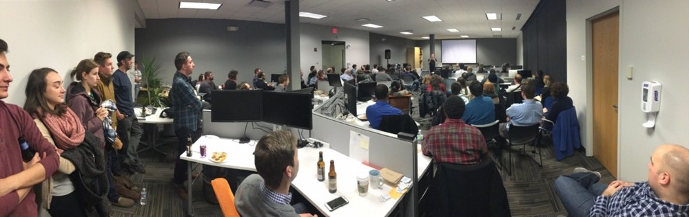 """Standing room only for Todd Novak's""""Getting the Best of You"""" on January 21, 2016 at Cardinal Solutions Group in Columbus, Ohio for Columbus Web Group's Monthly Meetup"""