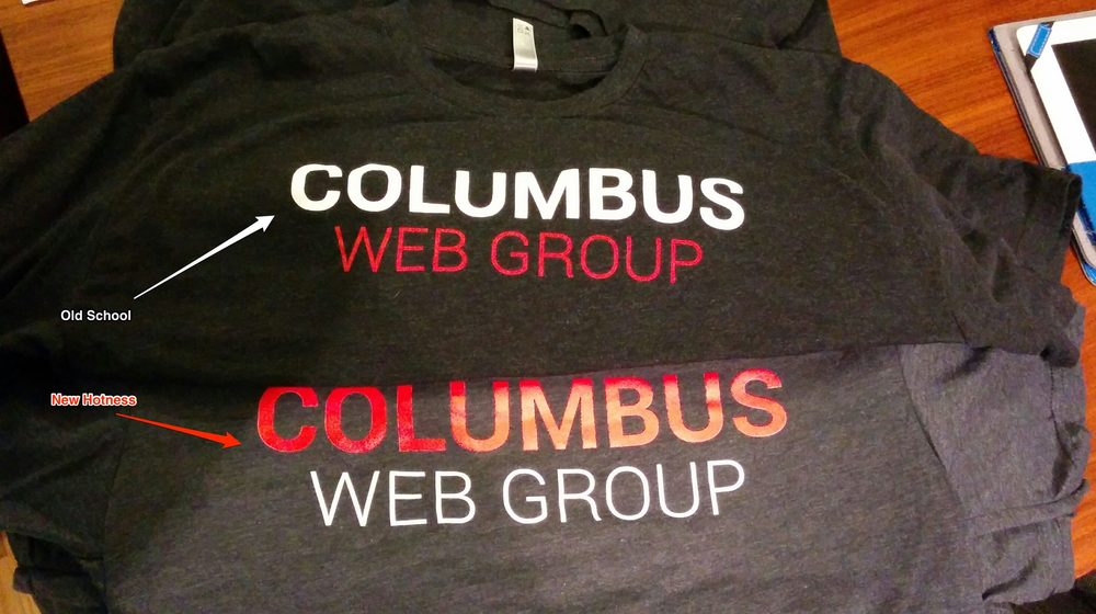 Official Columbus Web Group T-shirts in all their old and new glory