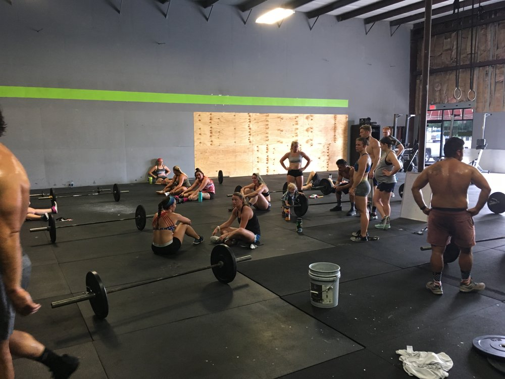 """FOR TIME 100 Double Unders 25 DB Step-Over (35/20, 24""""/20"""") 50 Wall Balls (20/14) 25 HSPU 100 Double Unders 25 HSPU 50 Wall Balls 25 DB Step-Over 100 Double Unders"""