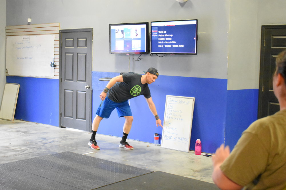 WORKOUT EMOM x 15 MINUTES MIN 1 -- 7 Hang Squat Snatch (athlete choice on loading)* MIN 2 -- 25 Sit-ups MIN 3 -- 15/12 Cal Row