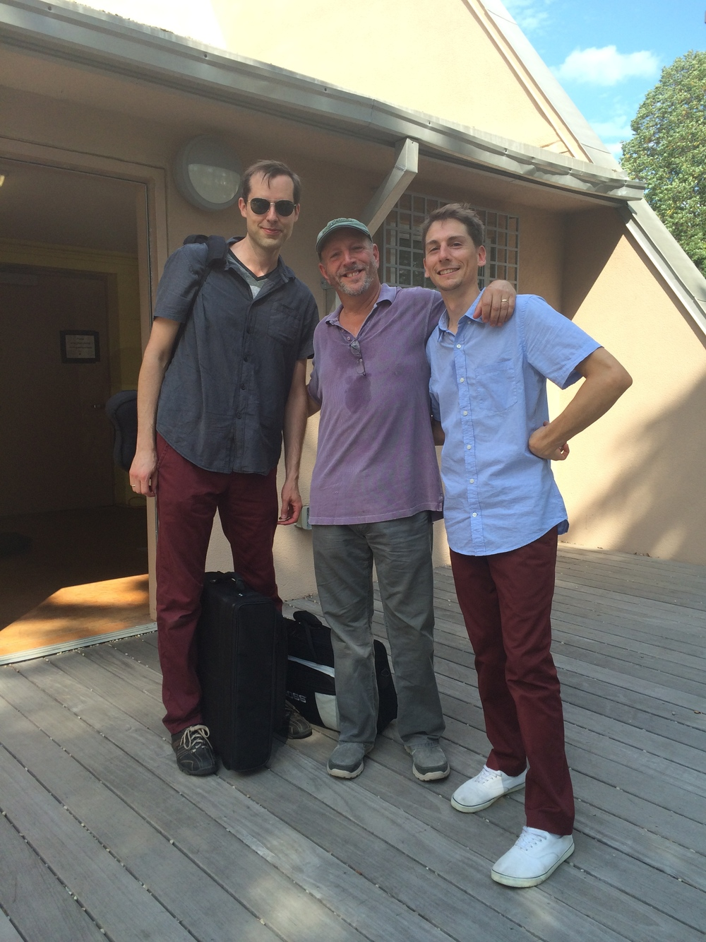 Bruce Gertz Trio, Tim Miller, BG, Austin McMahon, August, 2014 at Hyde Park Jazz Festival