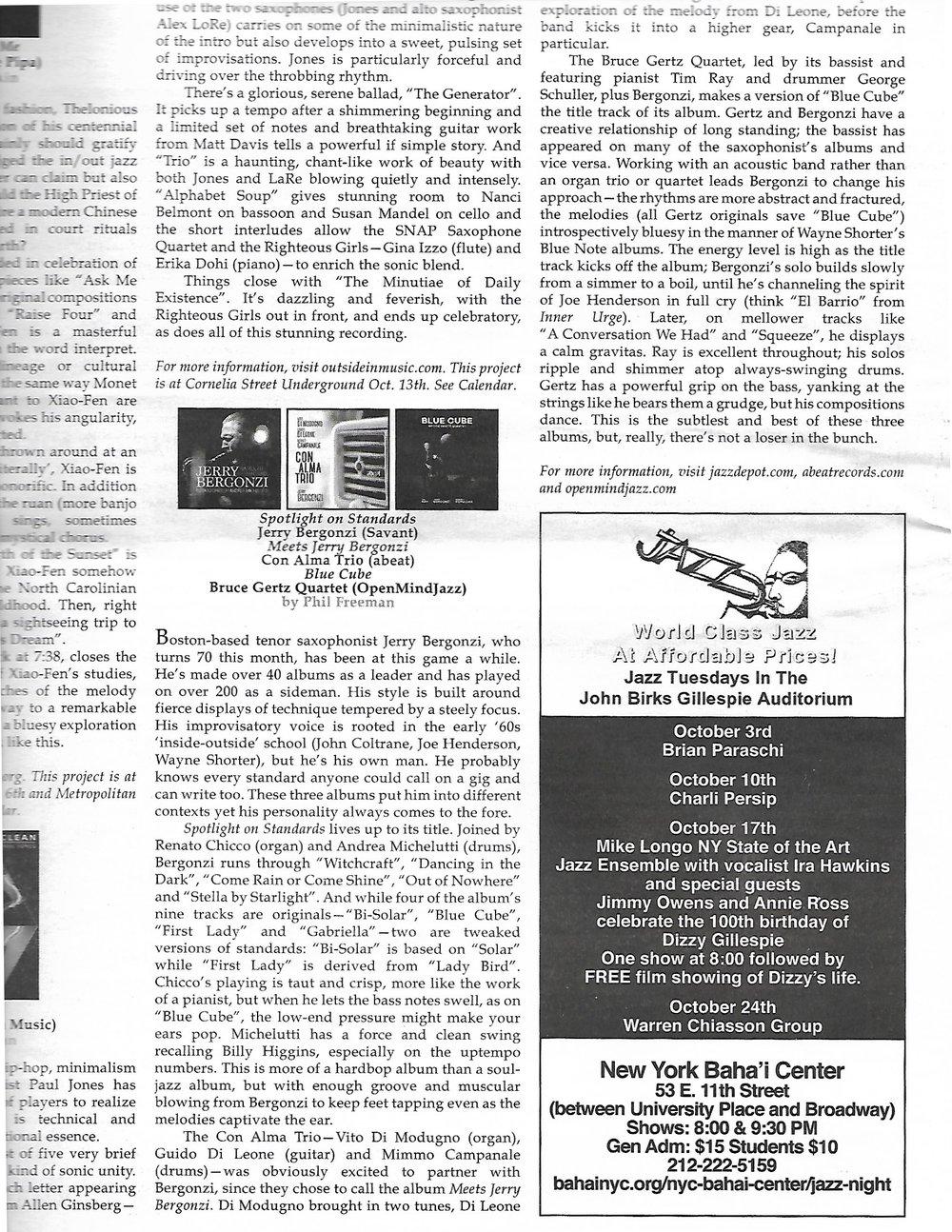New York City Jazz Record October, 2017