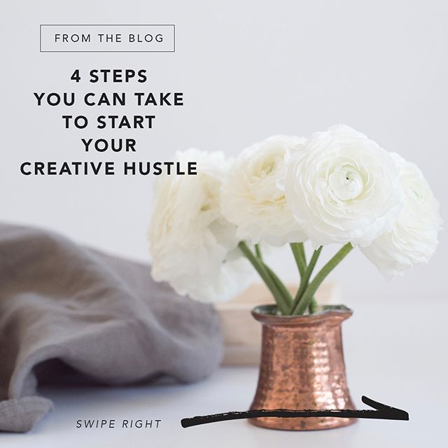 #ThursdayTip from the blog 👉🏼 4 STEPS YOU CAN TAKE TO START YOUR CREATIVE HUSTLE 👏🏼 Swipe for quick tips and read more on the blog #linkinbio ✨You got this ✨