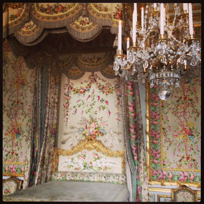 Emily fell in love with Marie-Antoinette's chamber in the Chateau, since the fabric in her room was so chic....