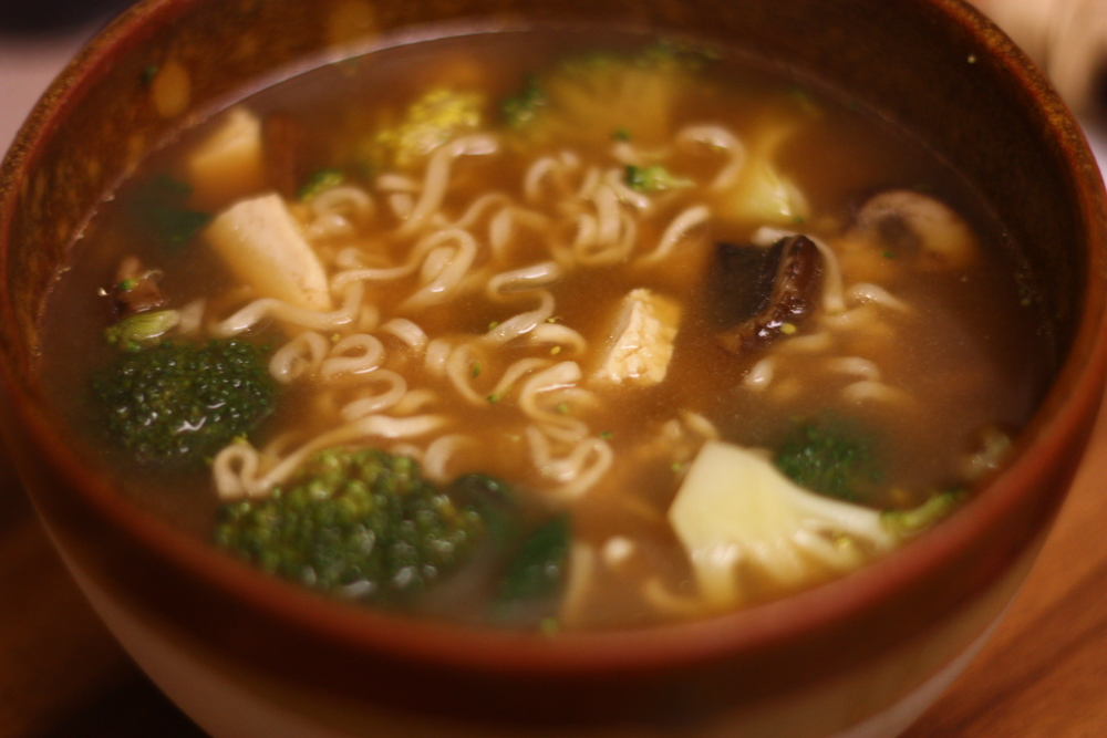 Healthy homemade Ramen with Kale, Broccoli, and Tofu