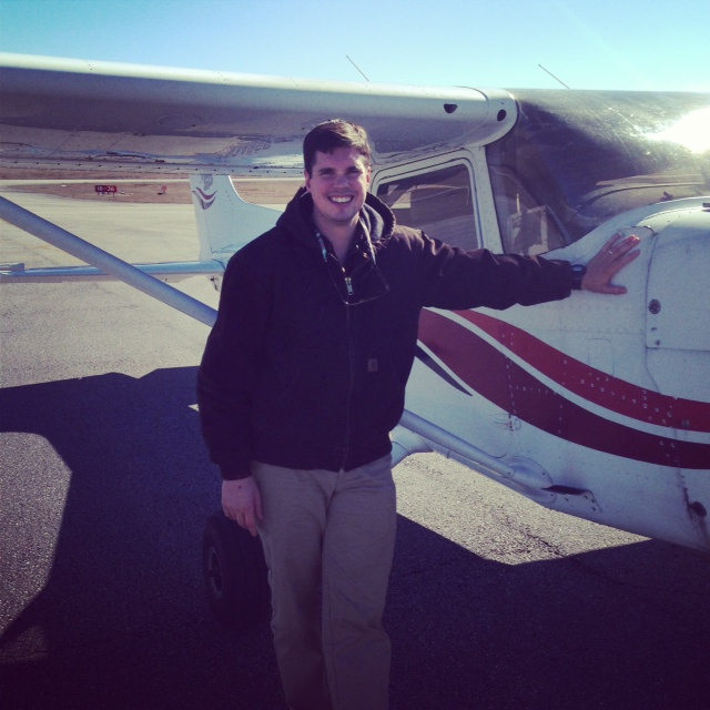 John after his first solo flight.