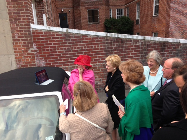 Taken right outside the church, immediately after the service--watching the Kentucky Derby in the parking lot! That is my mom in the green shawl...avid horsewoman she is...