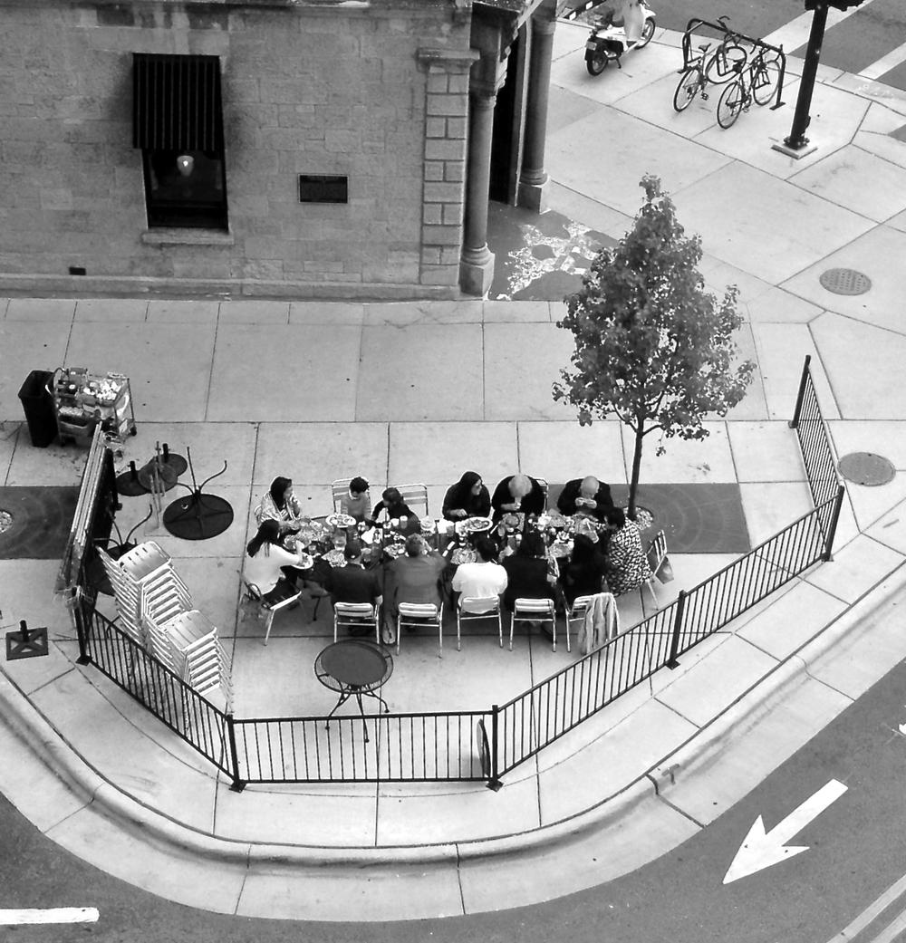Three Generation Lunch.  East Main Street. Madison, Wisconsin.  October 2015.  © William D. Walker