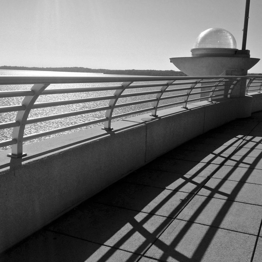 Railing.  Monona Terrace. Madison, Wisconsin.  October 2015.  © William D. Walker