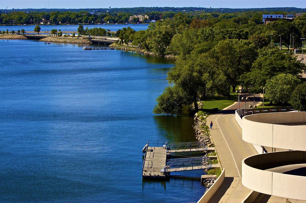 Monona Bay Postcard. Monona Terrace, Madison, Wisconsin. September 2015. © William D. Walker