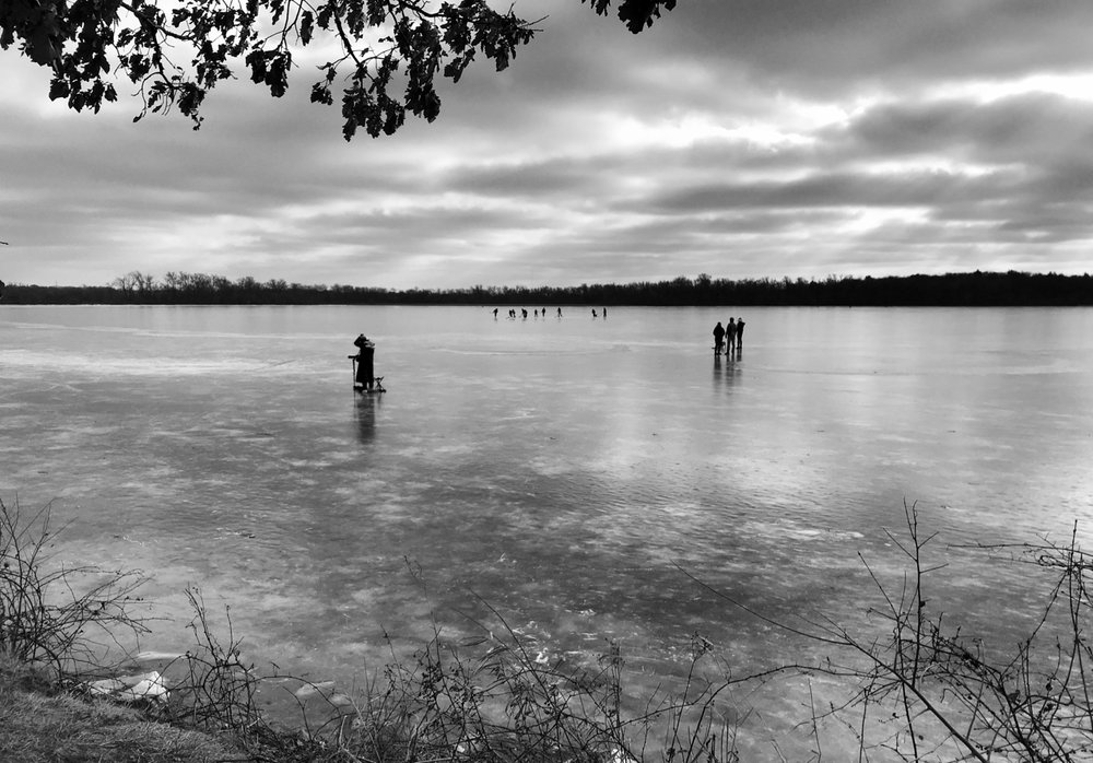 Ice Sports. Lake Wingra. Madison, Wisconsin. December 2017. © William D. Walker