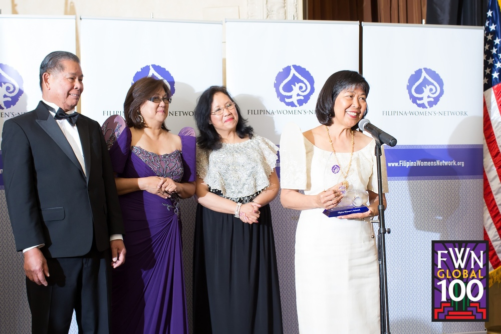 Filipina Women's Network's Marily Mondejar, CEO and Elena Mangahas, Board Chair, with Cora Tellez (US100 '09 and Global100™ '13), President and CEO, Sterling HSA, receiving the FWN Global100™ Award at the awards gala at the 10th Filipina Leadership Global Summit on October 24-26, 2013 in San Francisco.