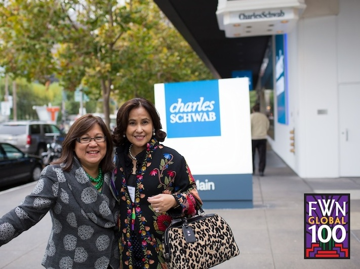 Marily Mondejar and Nina at Charles Schwab in San Francisco.