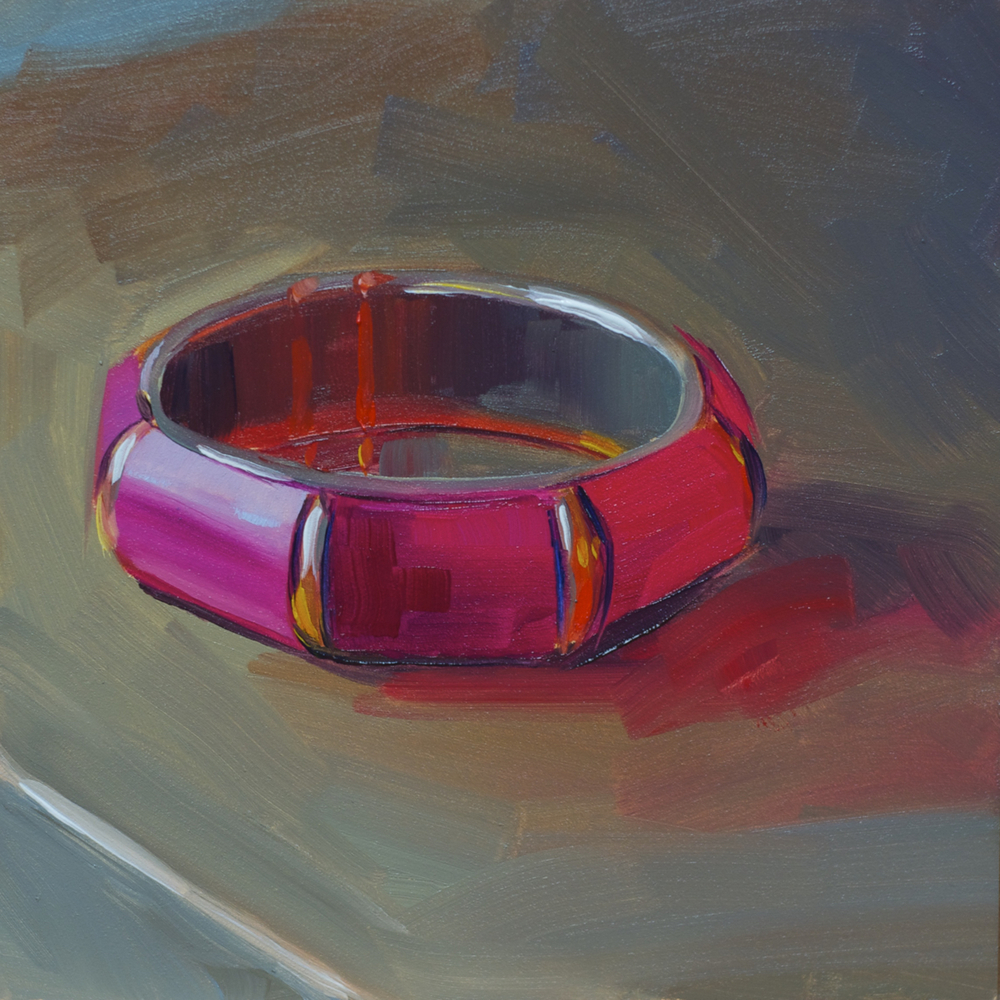 """Boho Bangle"" - 6""x6"", oil on gessobord. $50"