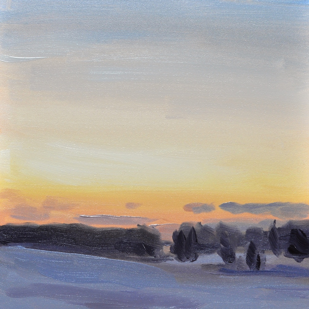 """Winter Sunset"", oil on flat panel gessobord, 6""x6"", $50"