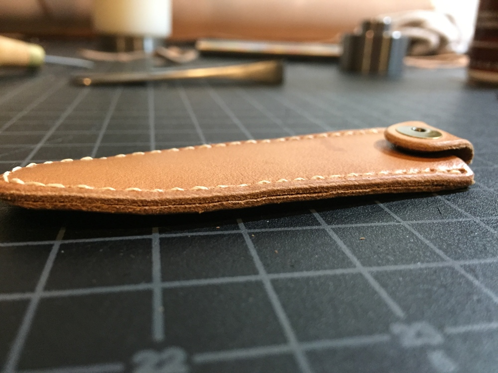 Raw edge of the stitched case.