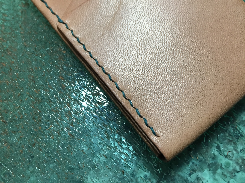 teal stitching wallet
