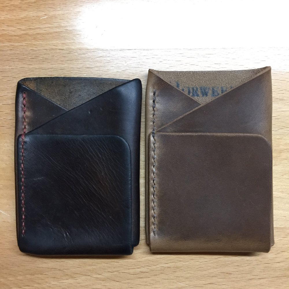 new wallet and patina leather