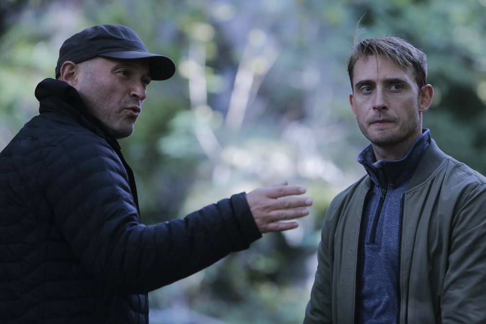 Trig Diesen (left) directing Lars Berge on the set of  Wisting  (2018).  Photo: Trygve Indrelid