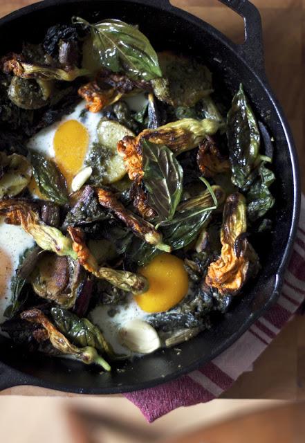 squash blossom pesto potato skillet — Woodland Keep