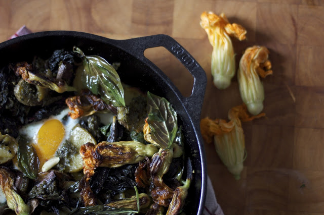 squash blossom pesto potato skillet — Woodland Keep