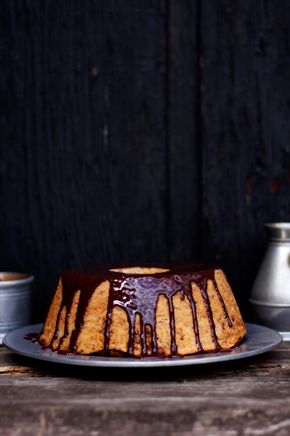 Banana Cake with Messy Espresso Nutella Glaze